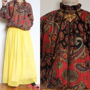 Vintage Paisly burgundy jumper jacket dark red 80s